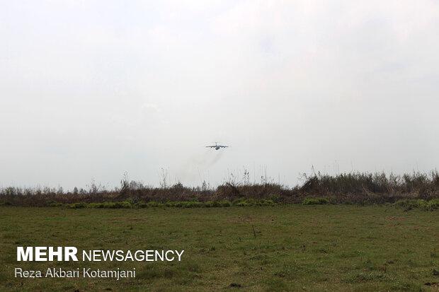 Aerial firefighting to extinguish wildfire of Anzali Lagoon