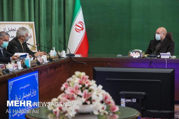 محمد باقر قالیباف رئیس مجلس شورای اسلامی و حمید سجادی وزیر ورزش و جوانان
