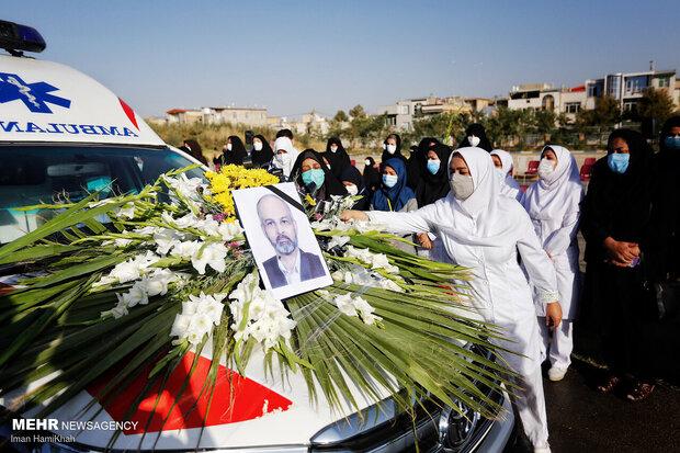 تشییع پیکر محسن احمدی قمی شهید مدافع سلامت در همدان