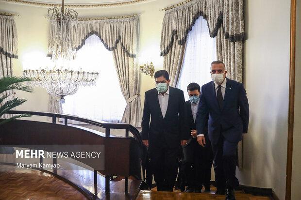 ورود مصطفی الکاظمی نخست وزیر عراق و محمد مخبر معاون اول رئیس جمهور به محل دیدار