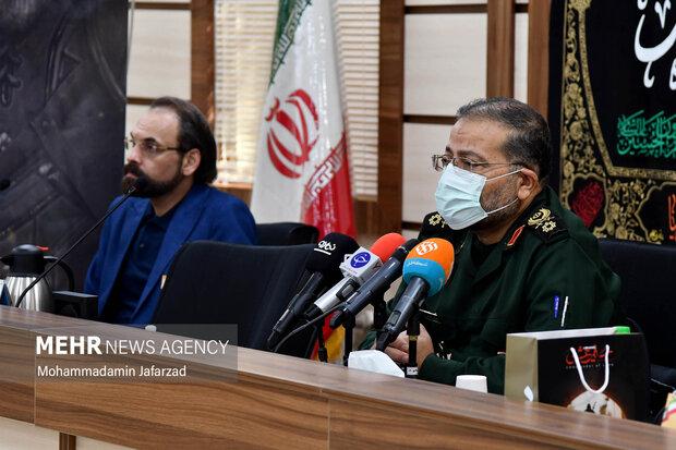 غلامرضا سلیمانی رییس سازمان بسیج مستضعفین  و جمعی از مسئولان در مراسم رونمایی از بازی مختار فصل قیام سخنرانی میکند