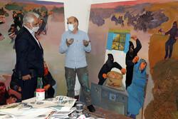 بازدید رییس دانشگاه آزاد از کارگاه نقاشی «در رثای سیمرغ تجلی»
