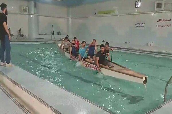 تمرین تیم قایقرانی خراسان شمالی در استخر کودکان