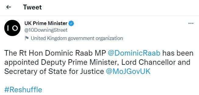 «دومینیک راب» معاون نخستوزیر و وزیر دادگستری انگلیس شد
