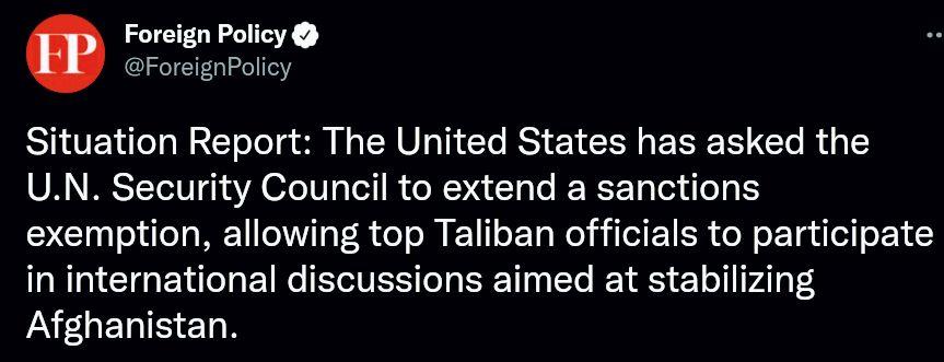 درخواست آمریکا برای معافیت طالبان از تحریم های سازمان ملل