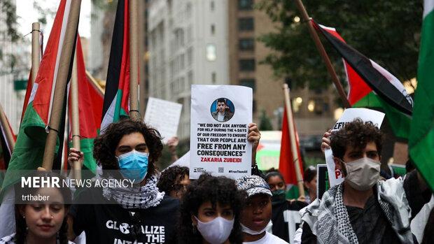تظاهرات در نیویورک در حمایت از فلسطینیان