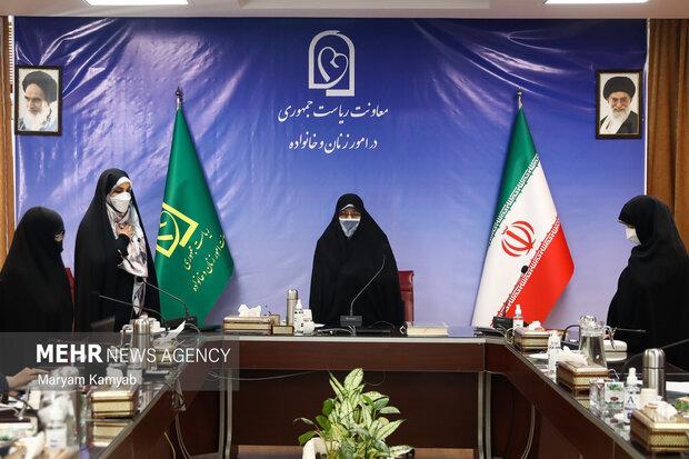 انسیه خزعلی معاون امور زنان و خانواده ریاست جمهوری و سایر مدعوین در ابتدای نشست به پخش سرود ملی ایران ادای احترام کردند.