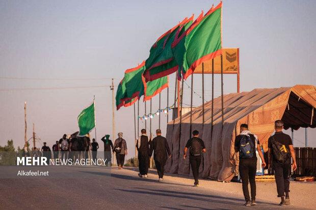 راه اندازی خیمه قرآنی شهید ابومهدی المهندس در مسیر نجف به کربلا