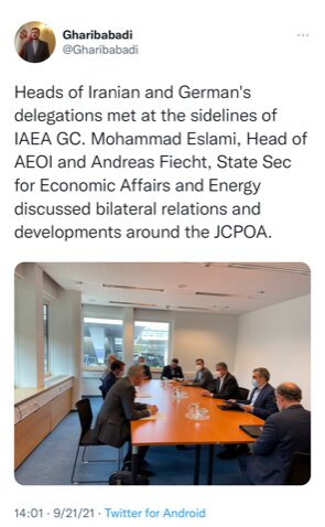 Iran nuclear chief, German energy min. discuss JCPOA, ties