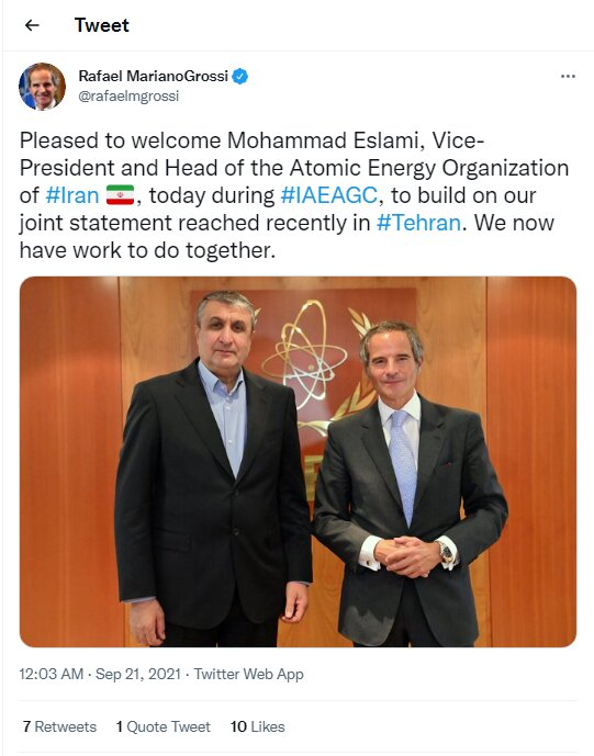 Grossi hails meeting with AEOI chief in IAEAGC