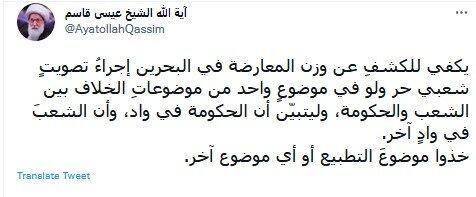 برای فهمیدن وزن مخالفان در بحرین همه پرسی آزاد مردمی برگزار شود