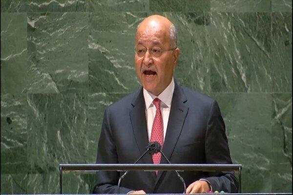 برهم صالح: امنیت و ثبات عراق برای صلح در منطقه حائز اهمیت است
