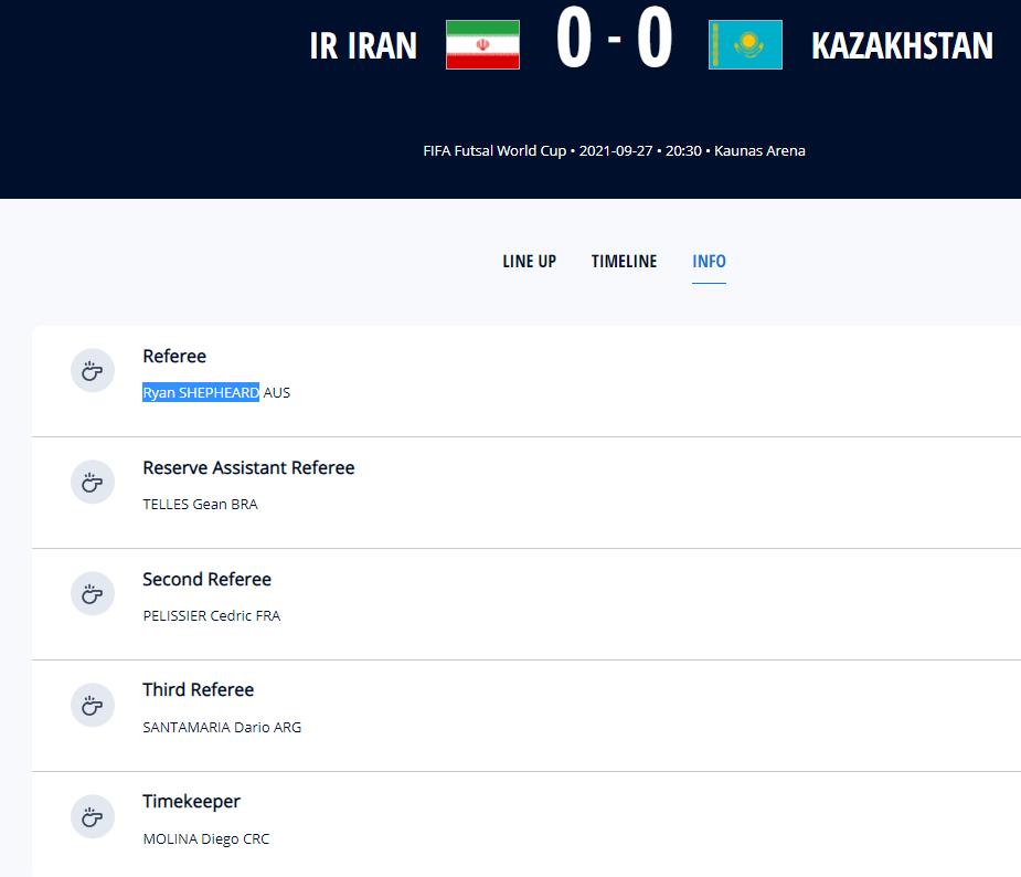 قضاوت داوران استرالیایی و فرانسوی برای تیم ملی فوتسال ایران