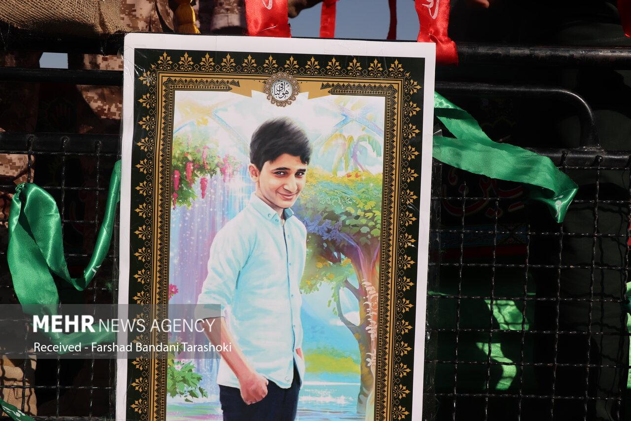 تشییع پیکر علی لندی نوجوان فداکار ایذه ای در زادگاهش
