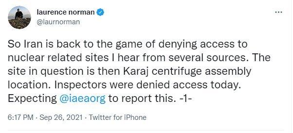 WSJ claims Iran not let IAEA inspectors to Karaj nuclear site