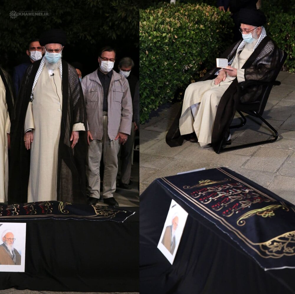 رہبر معظم انقلاب اسلامی نے آیت اللہ حسن زادہ آملی کے پیکرپاک  پر نماز ادا کی