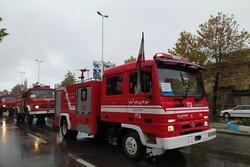 رژه خودرویی و مانور عملیات ناوگان آتش نشانی آستارا