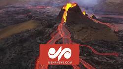 فوران آتشفشان لاپالما اسپانیا از دید هواپیماهای بدون سرنشین