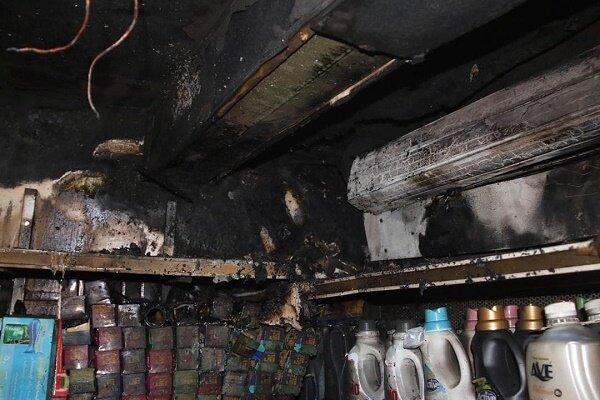 آتش سوزی یک سوپرمارکت در میدان آرژانتین