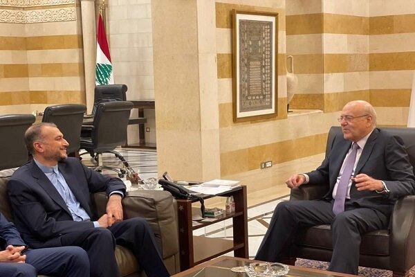 ایرانی وزیر خارجہ امیر عبداللہیان کی لبنان کے وزیر اعظم سے ملاقات
