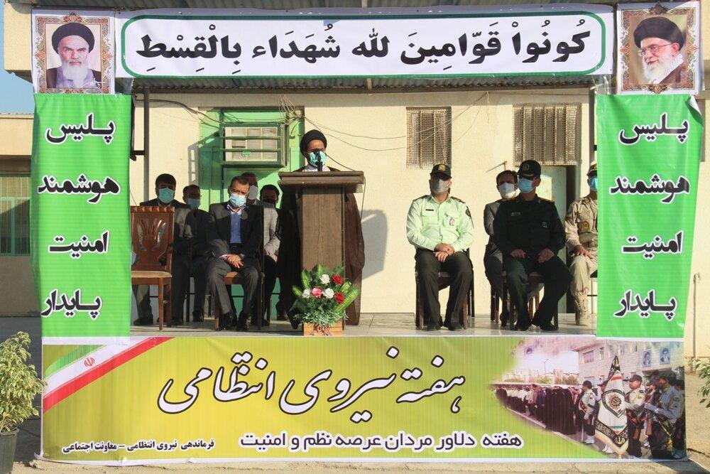 مراسم صبحگاه هفته نیروی انتظامی در گناوه برگزار شد