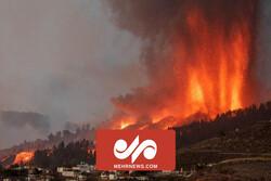 رودی از مواد مذاب آتشفشان پالما اسپانیا