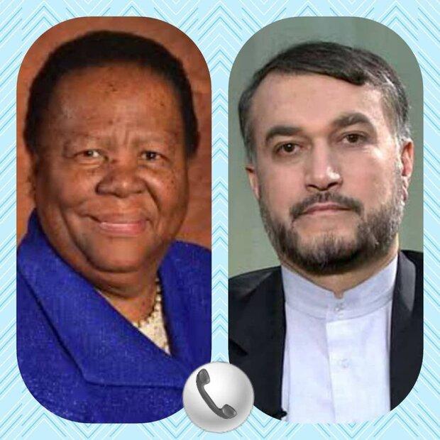وزيرا خارجية ايران وجنوب افريقيا يؤكدان على ضرورة توسيع العلاقات الثنائية