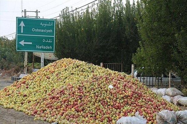 قصه تکراری انباشت سیب صنعتی در جاده های ارومیه