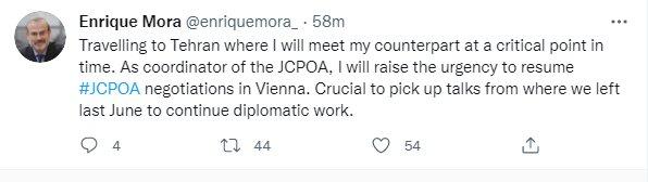ضرورت ازسرگیری مذاکرات برجام را در سفر به تهران مطرح میکنم