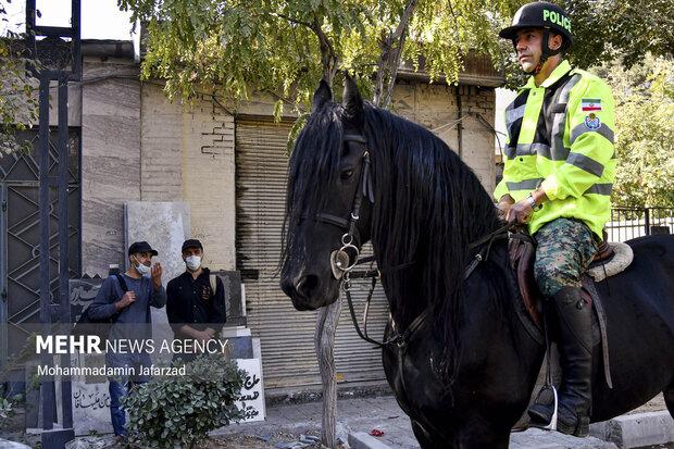 مردم در مراسم رژه اقتدار یگان اسب سوار حاضر هستند .