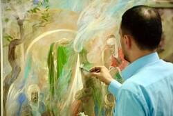 اجرای نقاشی صحنه ورود حضرت معصومه(س) به قم توسط حسن روحالامین