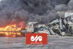 تصاویر هوایی از آتش سوزی واحد تولیدی «طبیعت» در زرندیه